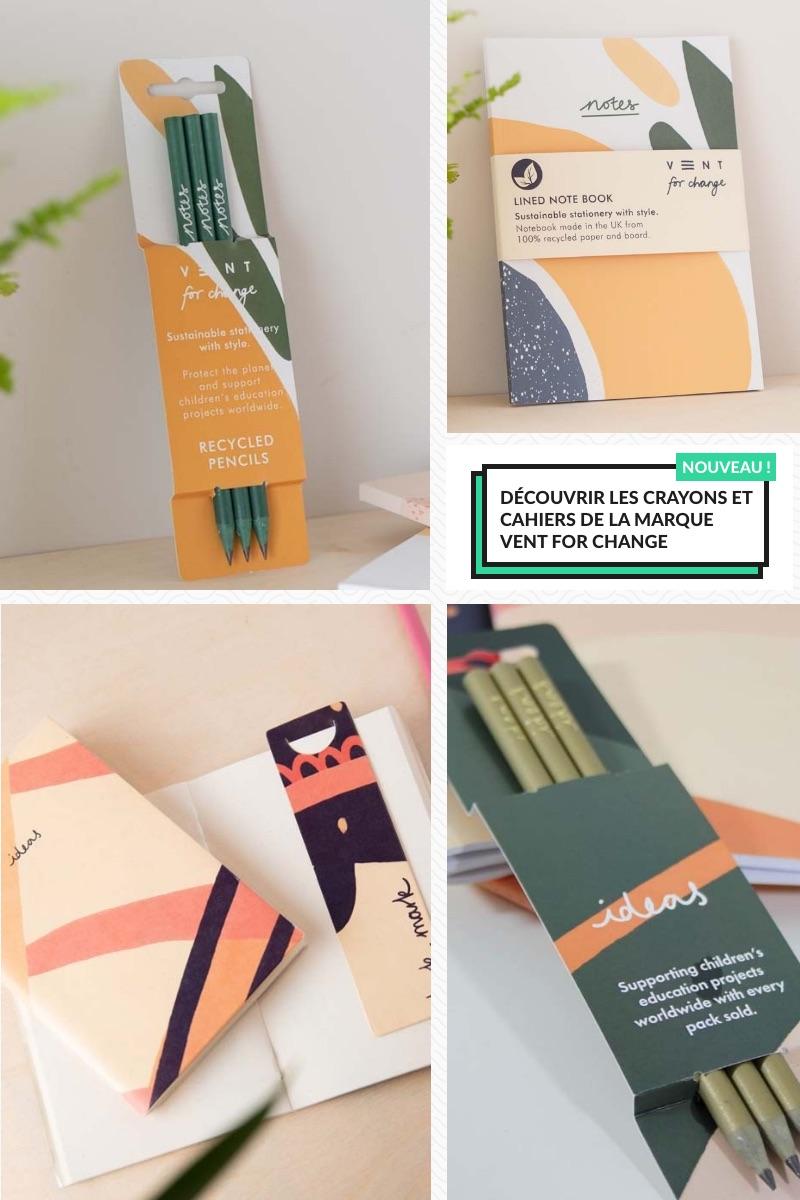 Découvrir les crayons et cahiers de la marque Vent for change