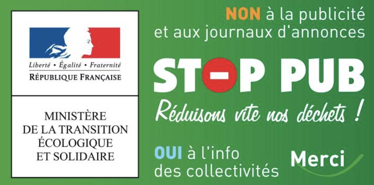 """Autocollant """"Stop pub"""" pour les boîtes aux lettres"""