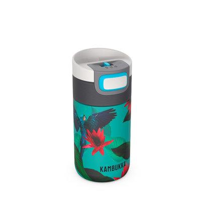 Mug isotherme Etna Parrots 300ml motif perroquets en inox, tritan, sans BPA et anti fuite