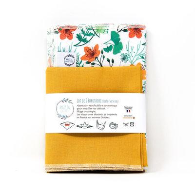 Emballage cadeau Furoshiki en coton ANOUK x2