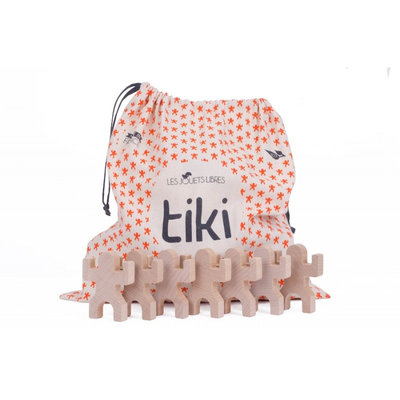 Sac de 40 pièces pour jeu de construction en bois Tiki