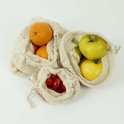 Mix de 3 sacs à vrac en maille de coton bio