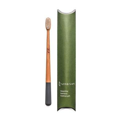 Brosse à dents gris orage en bambou poils végétaux et huile de ricin - medium