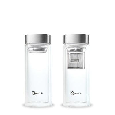 Théière double paroi en verre avec bouchon inox 320 ml