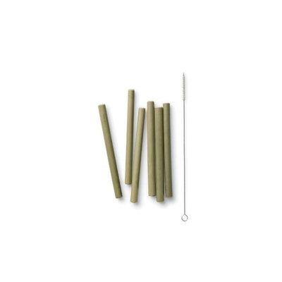 6 pailles courtes en bambou et goupillon