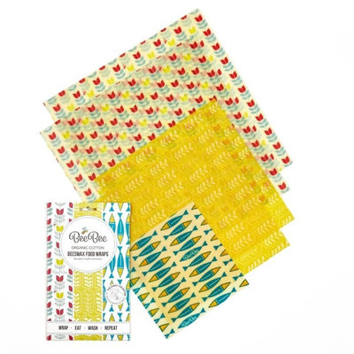 5 emballages alimentaires Nature en cire d'abeille pack family