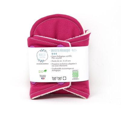 Serviette périodique pour la nuit en coton biologique coloris rose