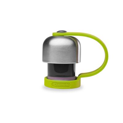 Bouchon en inox avec attache silicone vert pour bouteille réutilisable  et