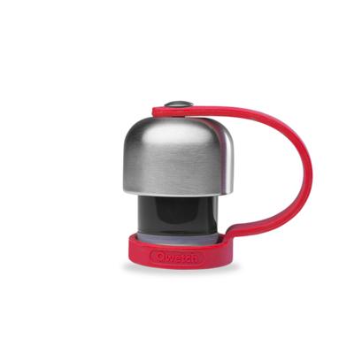 Bouchon en inox avec attache silicone rouge pour bouteille réutilisable  et