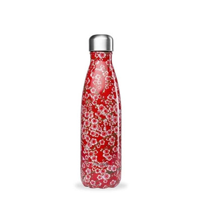 Bouteille Flowers rouge 500 ml inox, isotherme et sans BPA