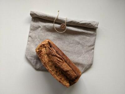 Sac à pain en lin bio roll-top