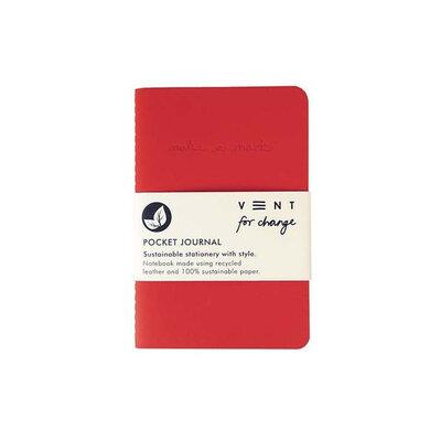 Journal de poche doublé en cuir recyclé - Rouge