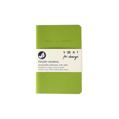 Journal de poche doublé en cuir recyclé - Vert