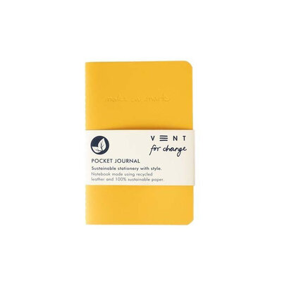 Journal de poche doublé en cuir recyclé - Jaune
