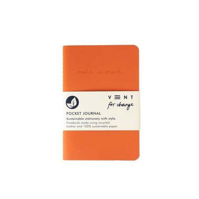 Journal de poche doublé en cuir recyclé - Orange