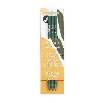Crayons en plastique recyclé  - Vert - Paquet de 3