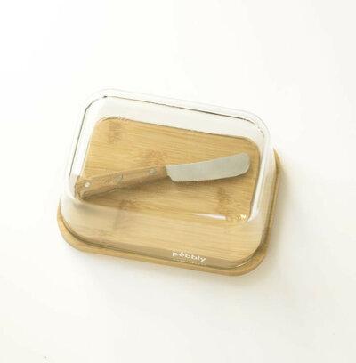 Beurrier en verre et bambou avec couteau à beurre