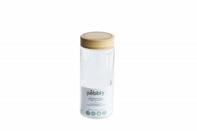 Bocal rond en verre borosilicate avec couvercle à vis en bambou