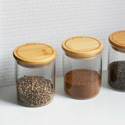 3 pots en verre à épices et condiments 190 ml