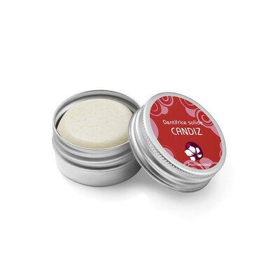 Dentifrice solide fraise Candiz 12 g en boite métal rechargeable