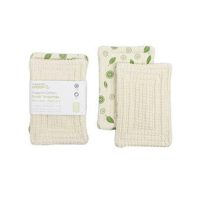 2 éponges en coton bio motif feuille de menthe