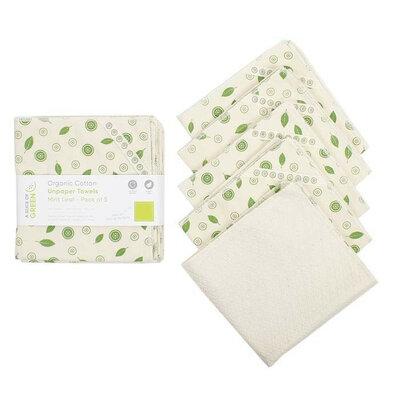 5 Essuie-tout en coton bio - Feuille de menthe