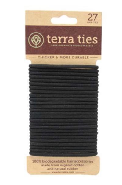 27 élastiques cheveux en coton bio noir