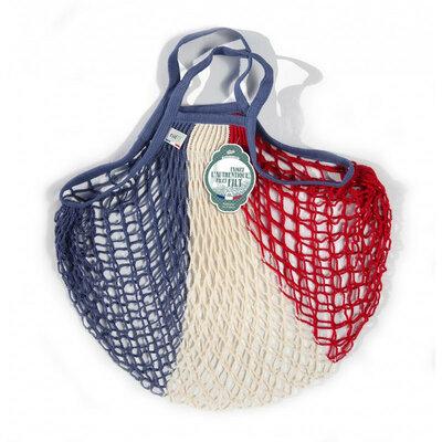 Filet de mémé à provisions bleu blanc rouge porté main en coton
