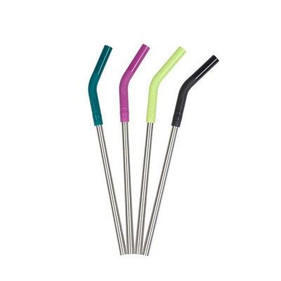 4 pailles inox courbées avec embout silicone