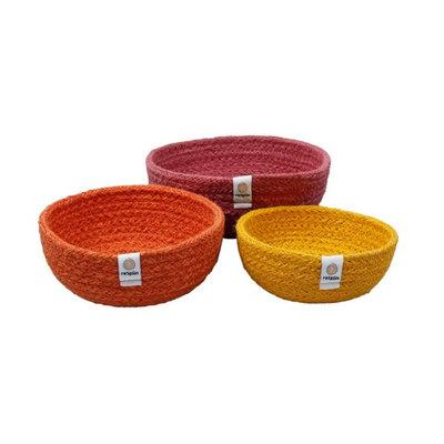Trio de corbeilles gigognes en fibres recyclées jaune et orange