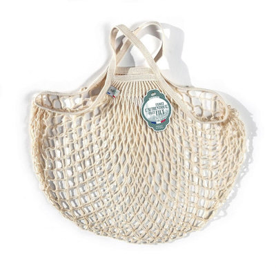Filet de mémé à provisions porté main écru en coton bio