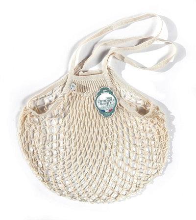 Filet de mémé à provisions porté épaule écru en coton bio