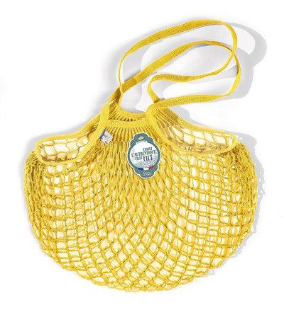 Filet de mémé à provisions jaune solarium porté épaule en coton