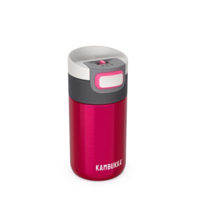 Mug isotherme Etna Raspberry 300 ml inox et tritan sans BPA anti fuite
