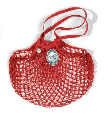 Filet de mémé à provisions rouge anémone porté épaule en coton