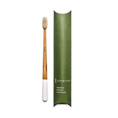 Brosse à dents Cloud White en bambou, poils en nylon et huile de ricin - taille medium