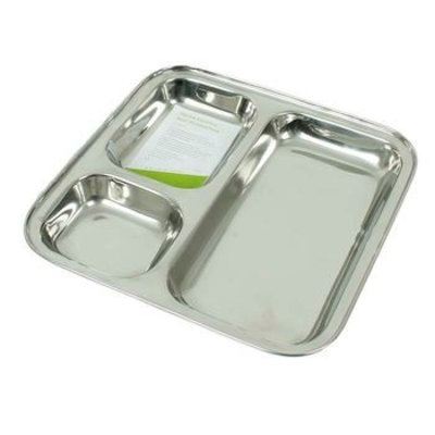 Plateau repas carré compartimenté en inox