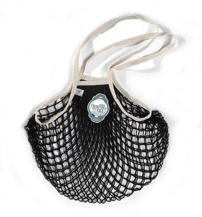 Filet de mémé à provisions noir écru porté épaule en coton