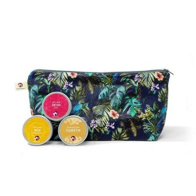 Coffret trousse de voyage femme3 produits format voyage : 1 shampoing, 1 élixir solide, 1 huile démaquillante
