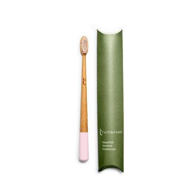 Brosse à dents rose en bambou en poils végétaux et huile de ricin - medium