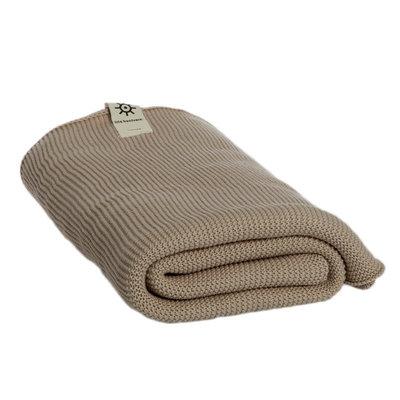 Serviette de bain beige en coton bio tricoté 1,5 x 1 m
