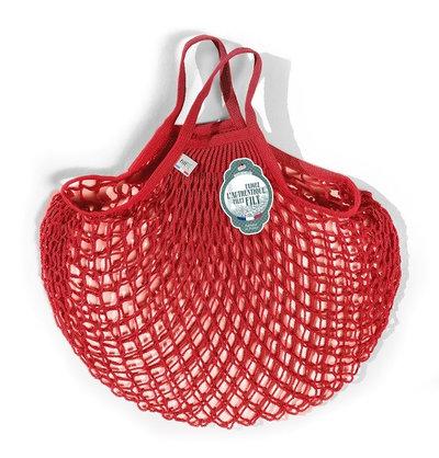 Filet de mémé à provisions porté main rouge anémone en coton
