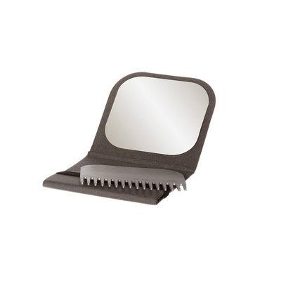 Peigne à barbe avec son étui miroir de poche gris