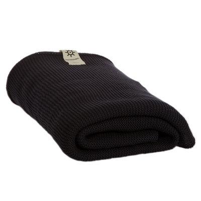 Serviette de bain noir en coton bio tricoté 1,5 x 1 m