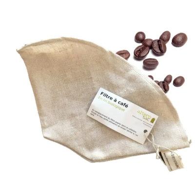 Filtre à café réutilisable en lin biologique20 x 12cm