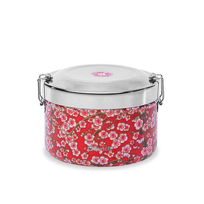 Boîte à repas bento flowers rouge isotherme inox 850 ml