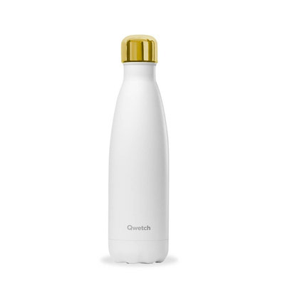 Bouteille Blanc Mat bouchon gold 500 ml inox isotherme
