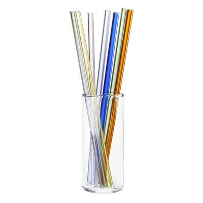 Lot de 8 pailles en verre - couleurs - Future 23cm