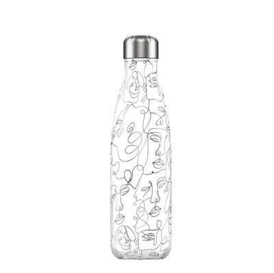 Bouteille Line Art Visages 500 ml inox, isotherme