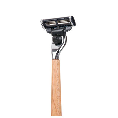 Rasoir avec manche en bois de chêne - Lame remplaçable Gillette Mach3
